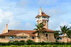 Mar-a-Lago on Palm Beach Island, Palm Beach, Florida. USA. Mar-a-Lago is Palm Beach's grandest mansion with 58 bedrooms and 33 bathrooms. The building was stock photography