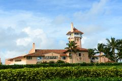 Mar-a-Lago on Palm Beach Island, Palm Beach, Florida. USA. Mar-a-Lago is Palm Beach's grandest mansion with 58 bedrooms and 33 bathrooms. The building was Stock Photo