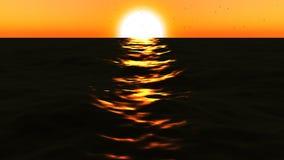 mar loopable de FullHd 3d con gran puesta del sol stock de ilustración