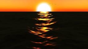 mar loopable de FullHd 3d con gran puesta del sol ilustración del vector
