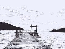 Mar maravilhoso Esboço do cais ilustração do vetor