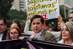 18 Mar 2019 - March for the defense of the JEP, Special Jurisdiction for peace Bogotá Colombia stock images