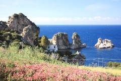 Mar mediterráneo azul de las flores Imagen de archivo libre de regalías
