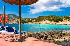Mar Mediterráneo de la playa de marcha del campo de España Majorca imagen de archivo libre de regalías