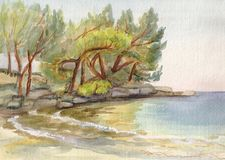El mar cerca de Antalia ilustración del vector