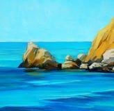 Mar Mediterrâneo com uma praia e uma baía, pintando ilustração royalty free