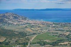 Mar Mediterraneo Costa Brava delle rose della città della Spagna Fotografia Stock