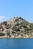 Mar Mediterraneo e vecchie rovine fotografie stock libere da diritti