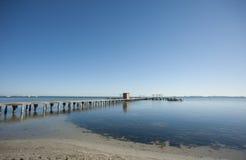 Mar Menor. Pier on a Mar Menor beach, Murcia, Spain Royalty Free Stock Photos