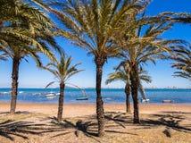 Mar Menor Holiday Seaside Resort Spain. Palm-fringed beach resort on the Mar Menor, with the La Manga strip on the horizon. Los Nietos, Costa Calida, Spain Stock Photo