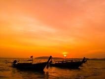 Mar meridional Tailandia del paisaje marino de la puesta del sol Fotos de archivo