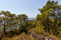 Mar, montañas y árboles Fotografía de archivo libre de regalías