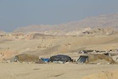 Mar Morto, Jordão 24 de dezembro de 2015: Povos nômadas que vivem pelo Mar Morto Imagem de Stock