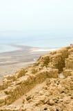 Mar muerto Israel de la fortaleza antigua de Masada imágenes de archivo libres de regalías