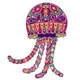 Mar ornamentado tirado mão do animal do medusa das medusa Fotografia de Stock