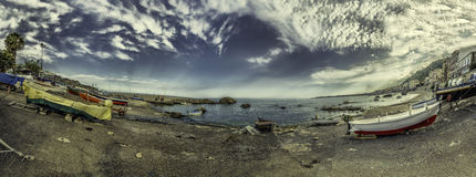Mar panorâmico fotografia de stock