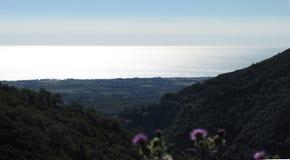 Mar, panorama del cielo azul Fotografía de archivo libre de regalías