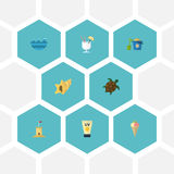 Mar plano de los iconos, tortuga, Shell And Other Vector Elements Sistema de iconos planos del verano stock de ilustración