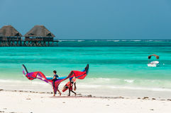 Mar, praia, papagaio e palafitte tropicais Fotografia de Stock Royalty Free