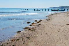 Mar que relucir, playa y barrera de madera en Spittal, Northumberl foto de archivo libre de regalías