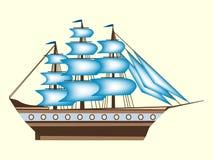 Mar retro do transporte da fragata do navio da cor da navigação Imagem de Stock Royalty Free