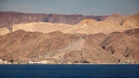 Mar Rojo y frontera entre Egipto e Israel Imágenes de archivo libres de regalías
