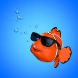 Mar Rosso Clownfish di divertimento del fumetto con gli occhiali da sole rappresentazione 3d Immagini Stock Libere da Diritti