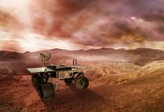 Mar rover exploring the red planet. Robot exploring the surface of rocky desert under a cloudy sky, 3d illustration Royalty Free Stock Images
