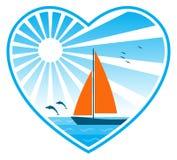 Mar, sol e sailboat no coração ilustração royalty free