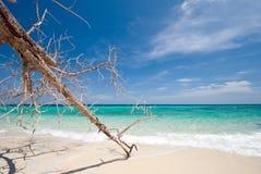 Mar tailandés: Playa blanca de la arena y cielo azul Imagenes de archivo
