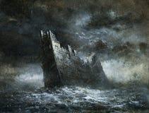 Mar tormentoso ilustração stock
