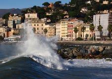 Mar tormentoso em Pegli Imagem de Stock Royalty Free