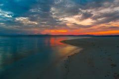 Mar tropical do por do sol Imagem de Stock