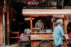 Thai local street food rice and noodle shop in Uthaithani royalty free stock photo