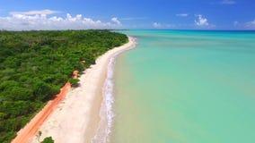 Mar verde de la visión aérea en la costa brasileña de la playa el día soleado Ciudad de Cumuruxatiba, Bahía, el Brasil En febrero almacen de video