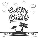 Mar você na praia ilustração royalty free