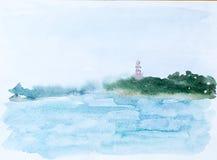 Mar y bosque, imagen de la acuarela foto de archivo