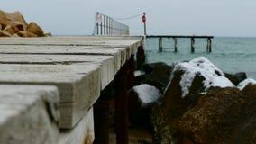 Mar y embarcadero del invierno almacen de video