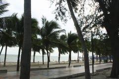 Mar y la costa en un día de invierno tempestuoso, visto de una playa adentro Imágenes de archivo libres de regalías