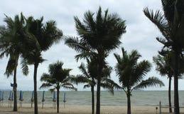 Mar y la costa en un día de invierno tempestuoso, visto de una playa adentro Foto de archivo