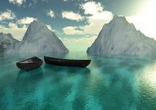 Mar y montañas de los barcos Foto de archivo