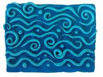 Mar y ondas - fondo azul del plasticine fotografía de archivo