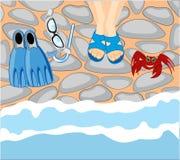 Mar y piernas de la costa en esquisto ilustración del vector
