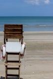 mar y silla del guardia de vida Imagen de archivo