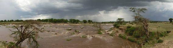 Mara River. All calm now at Africa's Mara River Stock Photos