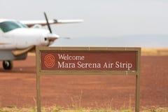 Mara Serena Air Strip en el Masai Mara foto de archivo libre de regalías