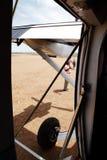 Mara Serena airstrip from inside aircraft Royalty Free Stock Image