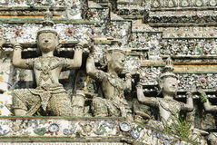 Mara shoulder statue on wall of Prang of Wat Arun (Arun temple), Bangkok, Thailand Royalty Free Stock Photography