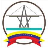 Maracaibos iconic symbol för bro i Venezuela med åtta stjärnaVenezuela flagga royaltyfri illustrationer