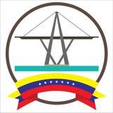 Maracaibos iconic symbol för bro i Venezuela med sju stjärnaVenezuela flagga vektor illustrationer